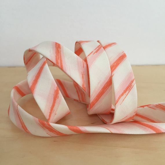 "Bias Tape in Cultivate Row by Row in Lit pink peach stripes 1/2"" double-fold cotton binding- Bonnie Christine- 3 yard roll"