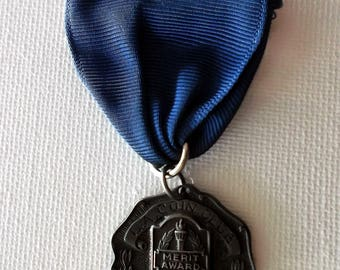 Vintage 1954 L.A. Coin Club STERLING SILVER Merit Medal Award