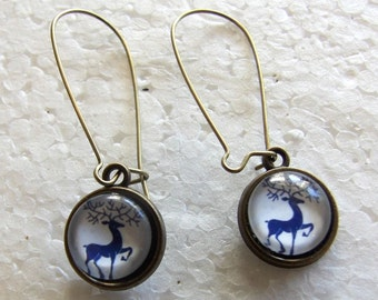 Blue and white  Deer Winter earrings  12mm dangles