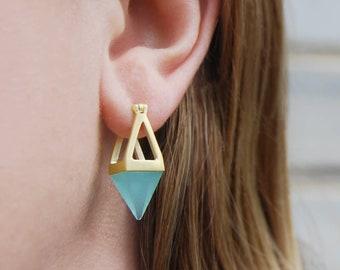 Aqua Chalcedony Gold Earrings-Gemstone Hoop Earrings-Gold Drop Earrings-Coloured Gemstone Earrings-Small Drop Earrings-Quirky Gold Earrings