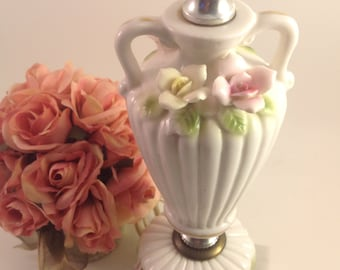 White porcelain vanity lamp fluted urn shape with handles applied pink and yellow roses Italian Carrara marble base