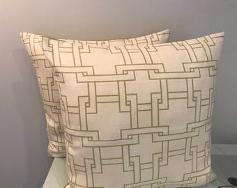 Green and Cream Geometric Linen Print Pillow Covers with Sold Green Linen Backs