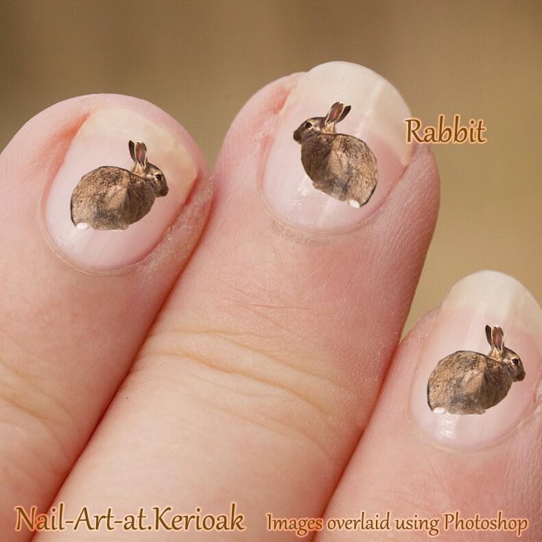 Bunny rabbit wild animal nail art stickers rabbit nail art nail decals rabbit decal bunny stickers bunny decal fingernail art