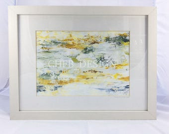 Original framed acrylic painting - 'Sunrise on Water' with 24kt gold leaf
