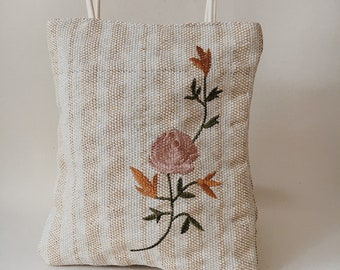 Woven Embroidered Tote Bag