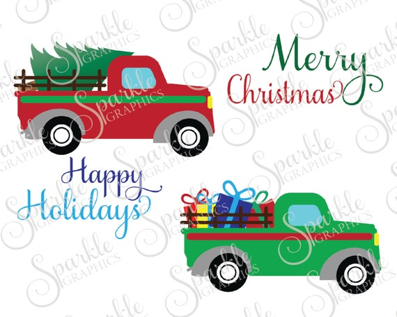 Antique Truck Cut File Christmas SVG December Tree Vintage Clipart Svg Dxf Eps Png Silhouette Cricut Commercial Use From