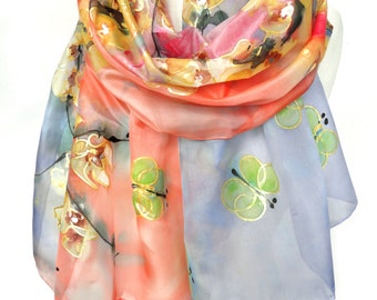 Hand Painted Shawl. Almond Tree Butterflies Scarf. Anniversary Birthday Gift for Her. Foulard Echarpe. Silk Painting. 18x71in MADE to ORDER