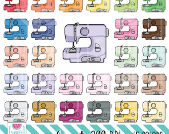 45 Doodle Sewing Machine Clipart. Personal and comercial use.