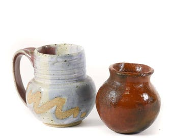 Vintage Pair of Small Pottery Planters - FREE SHIPPING