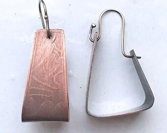 Abstracted Copper Hoop Earrings