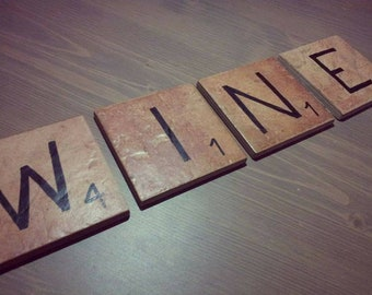 Scrabble Tile Ceramic Wine Themed Drink Coasters