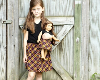 Size 7 SAMPLE SALE - Matching Girl and Doll Clothes - Fits American Girl Doll - Twirl Skirts in Autumn Plaid