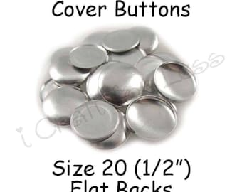 50 Cover Buttons / Fabric Covered Buttons - Size 20 (1/2 inch - 12mm) - Flat Backs - SEE COUPON