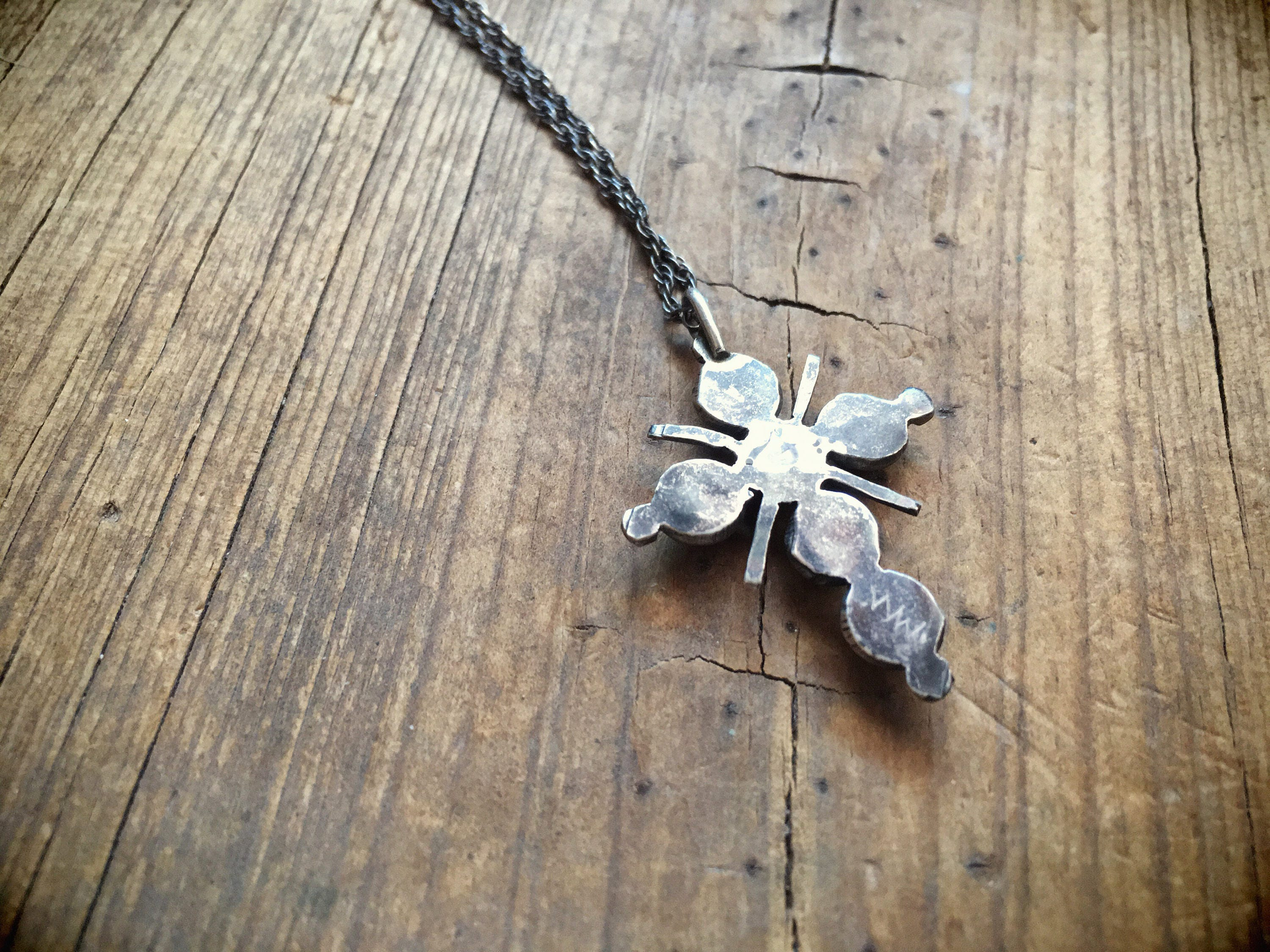 neckchain with by fetish zuni sterling vintage silver pin bear pendant