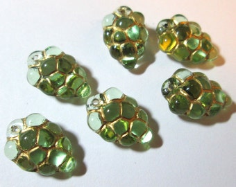 6 Light Green Glass Grape Charms with Gold Detail