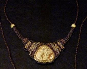 Unique macramé necklace with landscape Jasper