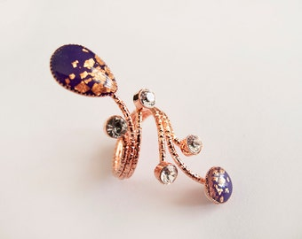 Violet and  Copper  Crystals Adjustable Ring -  Gift for Her