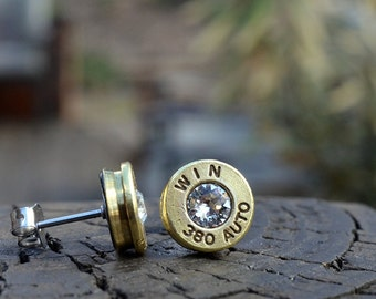 Bullet earrings stud earings or post earrings Winchester 380 auto earrings gold earrings bullet jewelry gift for her with Swarovski crystals