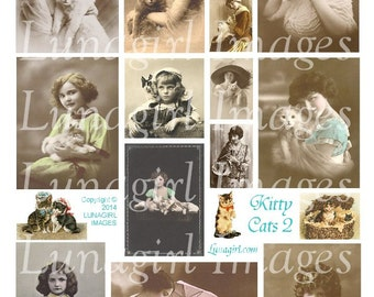 VICTORIAN CATS digital collage sheet vintage images kittens pets little girls ladies photos pendants altered art ephemera DOWNLOAD printable