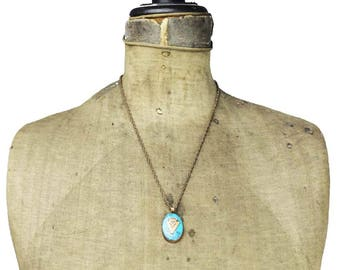 Bell Copper Arrowhead Necklace, Copper and Turquoise Pendant Necklace, Long Copper Necklace, Copper Chain Necklace, Copper Pendant Necklace