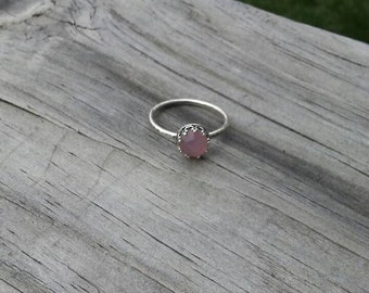 Faceted Pink Chalcedony Stacking Ring, Sterling Silver Setting, Size 6