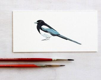 Magpie Original Watercolor Painting, original bird art
