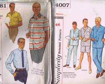 2 Vintage Simplicity 1950s Mens Shirt Pyjamas Night Wear SEWING PATTERNS Size Medium Chest 38-40  105-110 cm