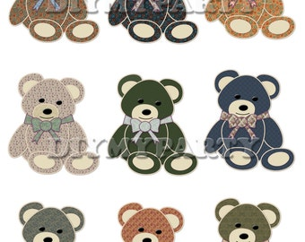 Printable party decor bears Clip Art bears clipart birthday decoration pdf file digital birthday party favor tag scrapbooking (332)
