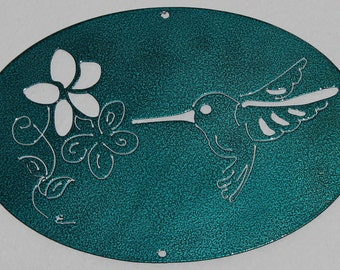 Hummingbird Oval Scene Metal Wall Art Home Decor Candy Teal