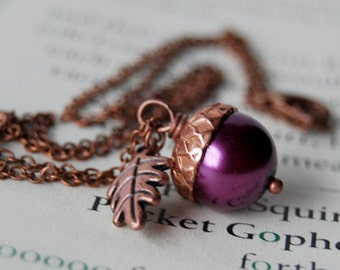 Plum and Copper Acorn Necklace | Purple Pearl Acorn Necklace | Fall Acorn Charm Necklace | Nature Jewelry | Woodland Copper Acorn Pendant