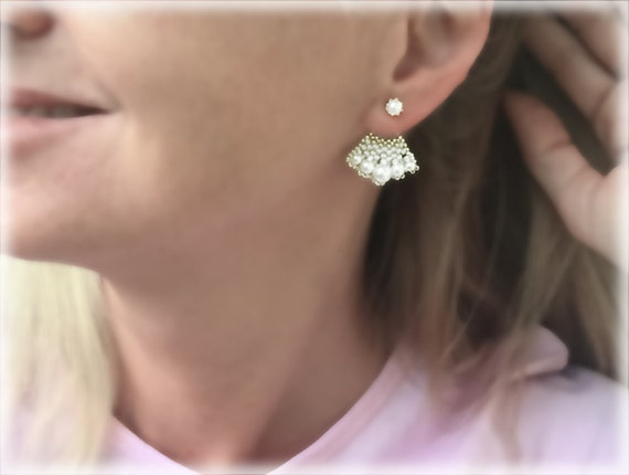 FanRear earrings beading TUTORIAL