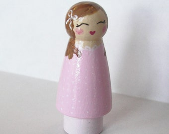 Hand Painted Love Boxes Pink Peg Doll Cupcake Topper Wood