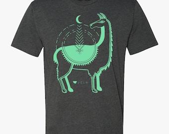 Llama T-shirt | Turquoise & Charcoal