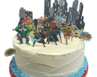 Stand Up Marvel Superheroes City Scene made from Fully Edible Premium Wafer Paper - Cake Topper Decoration