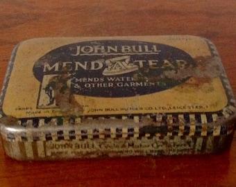 John Bull Mend A Tear Tin With Original Contents. 1950's.