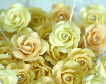 Miniature Roses Polymer Clay Flowers Supplies for Beaded Jewelry 12 pcs. in shade of Sunshine, 3 tones