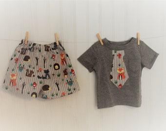 Boy Short Set, Baby Boy Outfit,Handmade,Summer wear, Short sleeves,Animal print