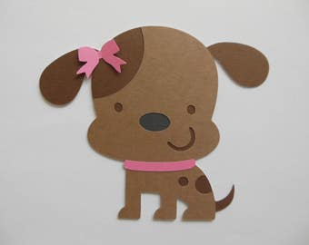 Puppy Dog Cutout - Brown and Pink - Girl Birthday Party Decoration - Girl Baby Shower Decoration - Set of 1