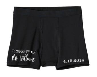 Property Of Boxers - Gift for Him - Personalized Boxers - Anniversary Gift - Husband Gift - Wedding Gift - Honeymoon Underwear - Groom Gift