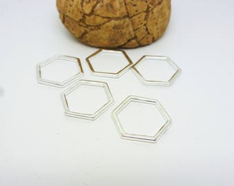 5 round connectors Hexagon geometric 17 * 15mm clear (8SCA43)