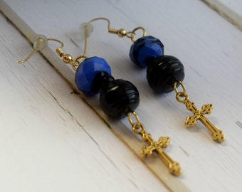 Earrings With Gold Cross, Blue and Black, Christian Jewelry, Cross Jewelry, Earrings With Cross, , First Communion Gift