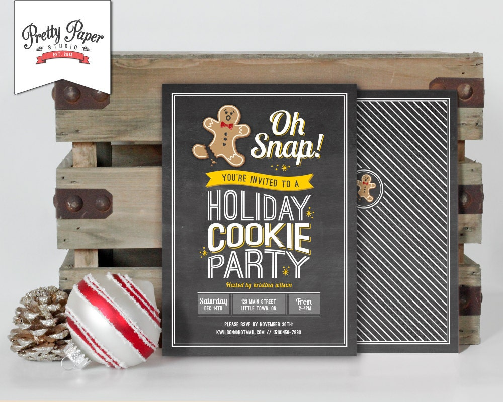 Holiday Cookie Party Invitation // Chalkboard Cookie Exchange