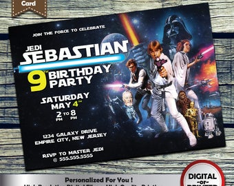 Star Wars birthday invitation - personalized printable invite for boys or girl birthday party - includes free thank you card