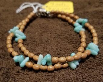 2 Strand Green Cupolini Stone Bracelet