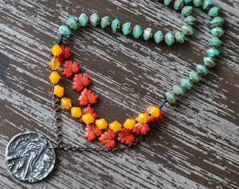 Unlisted - Bird Necklace - Multi Strand Necklace - Teal and Orange - Boho Bird Necklace - Knotted Necklace - Bead Soup Jewelry