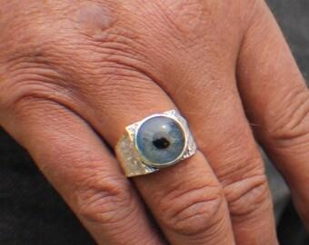 Sz 9, Prosthetic Eye Ring, Glass Eye Ring, Sterling Silver