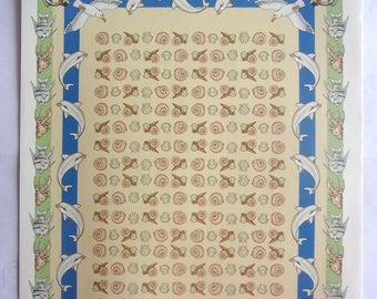 set of 10 sheets papers fancy scrapbooking - Dolphin fish shells .ref 626