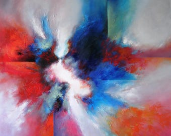XXLARGE ORIGINAL Abstract Painting, Very Atmospheric and Dramatic ART by Maia Nikolov, Extra Large Painting, Wall Art 100% Hand-Made.