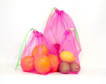 Reusable Produce Bag Set of 3 (1 ea:  S, M, L) - Choice of 4 Mesh Colors  - Lime Green Drawstring and Stitching- Zero Waste