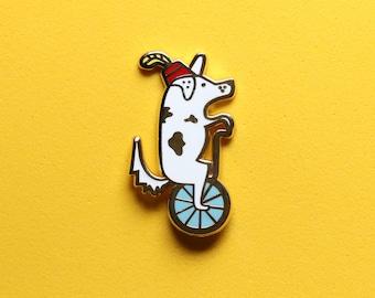 Circus Dog on a Unicycle Enamel Pin